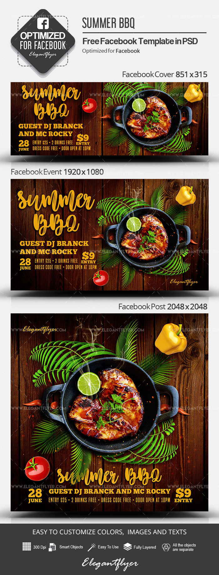 Summer BBQ – Free Facebook Cover Template in PSD + Post + Event cover