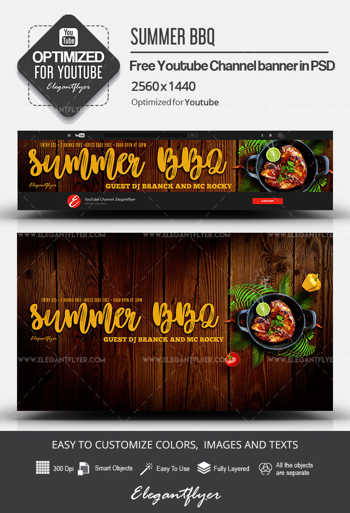 Summer BBQ – Free Youtube Channel banner PSD Template