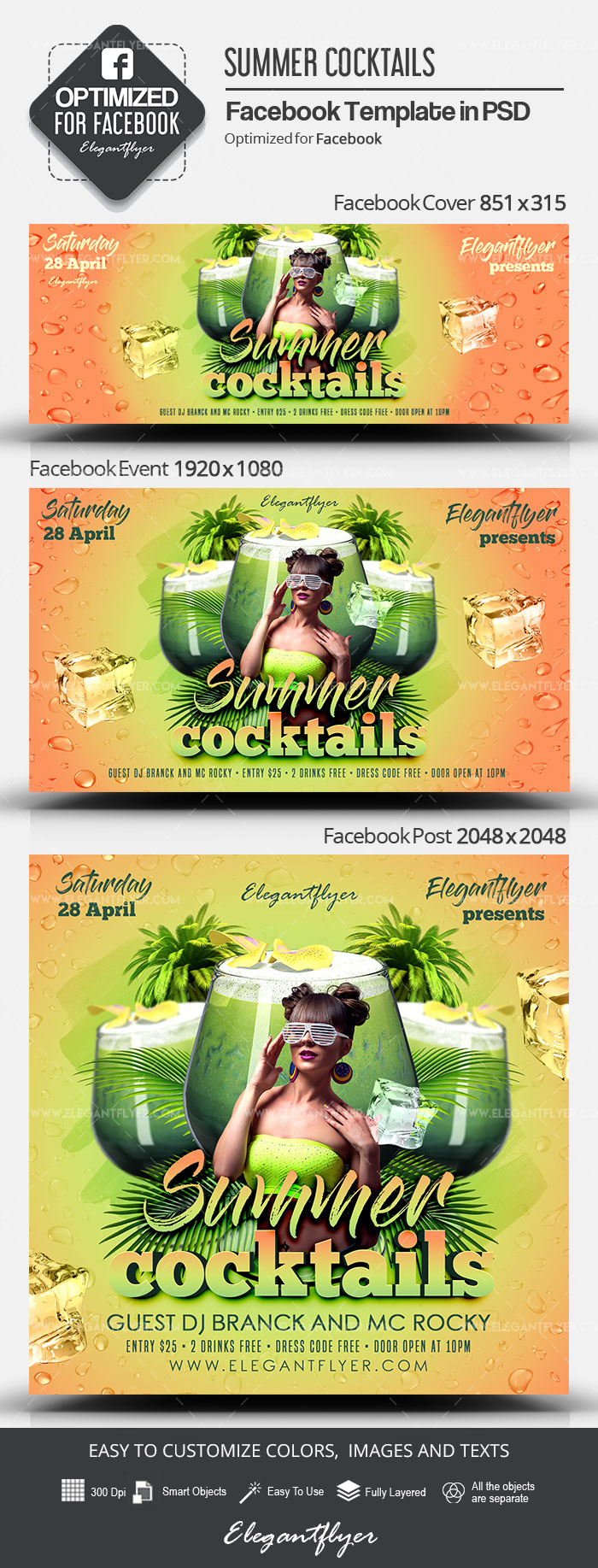 Summer Cocktails – Facebook Cover Template in PSD + Post + Event cover