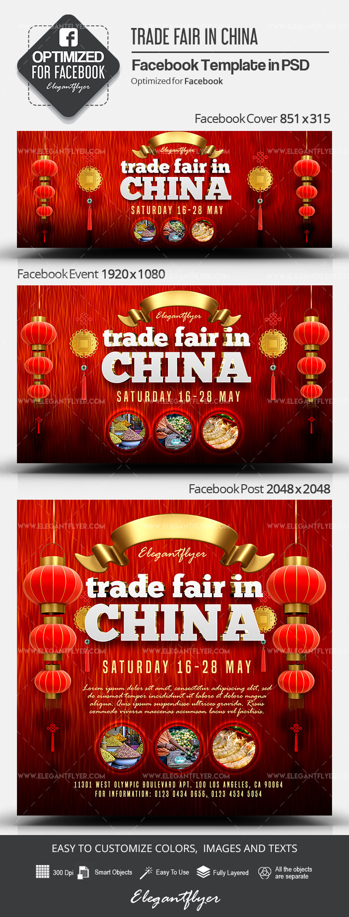 Trade Fair in China – Facebook Cover Template in PSD + Post + Event cover