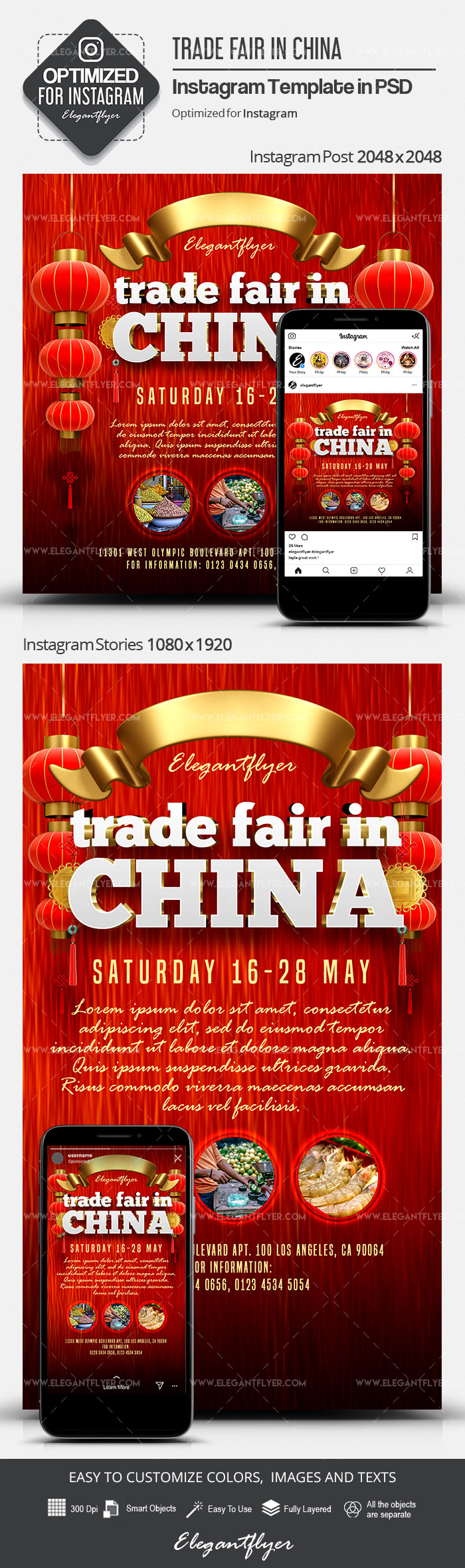 Trade Fair in China – Instagram Stories Template in PSD + Post Templates