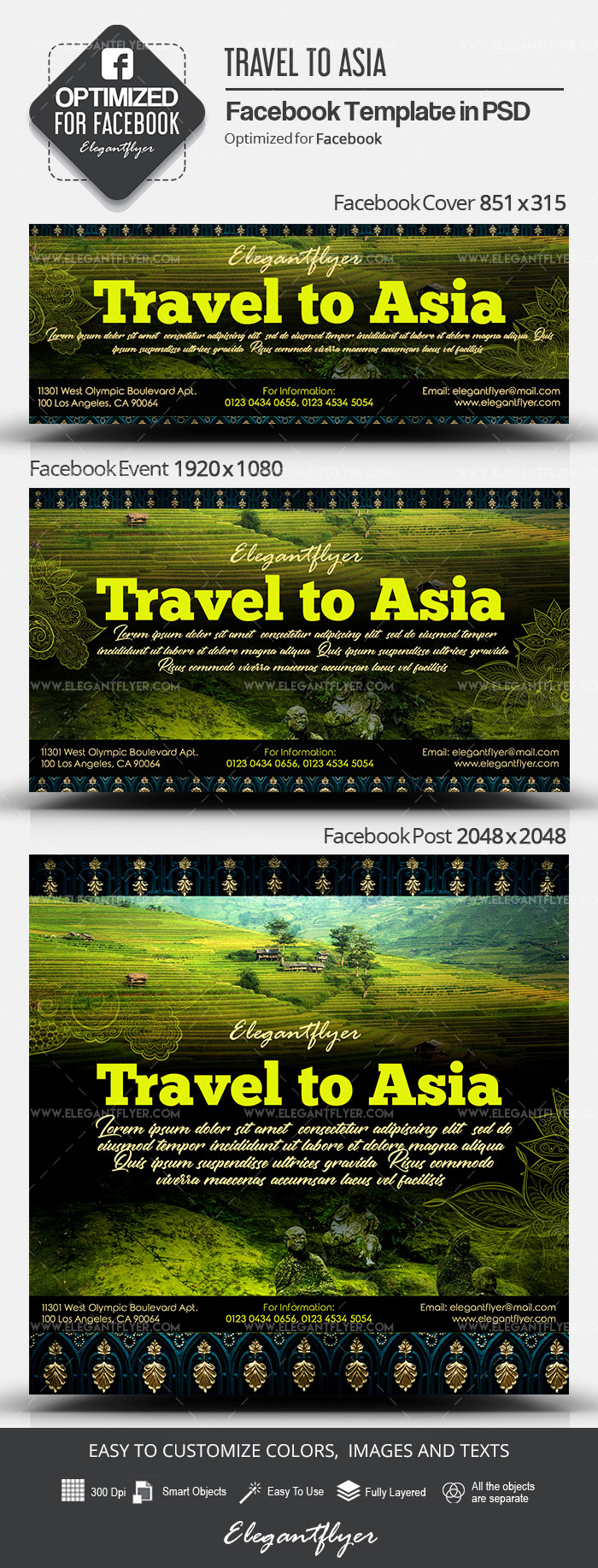 Travel to Asia – Facebook Cover Template in PSD + Post + Event cover