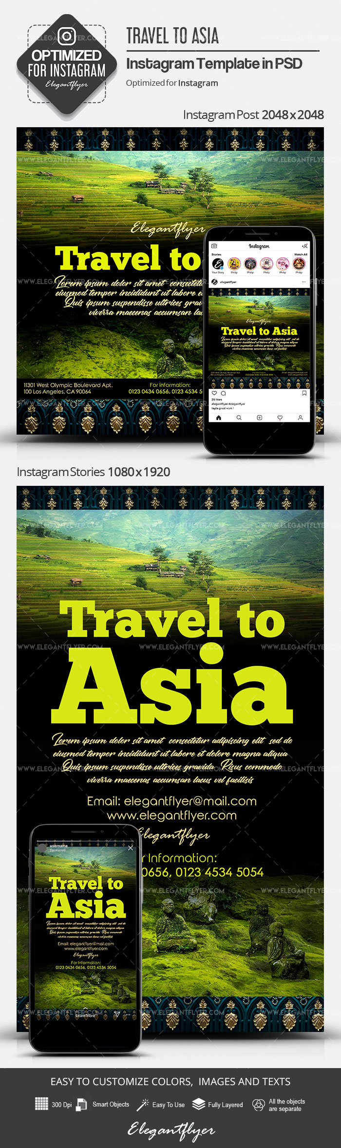 Travel to Asia – Instagram Stories Template in PSD + Post Templates