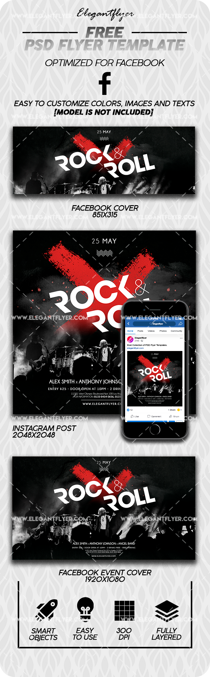 Rock'n'Roll Night – Free Facebook Cover Template in PSD + Post + Event cover