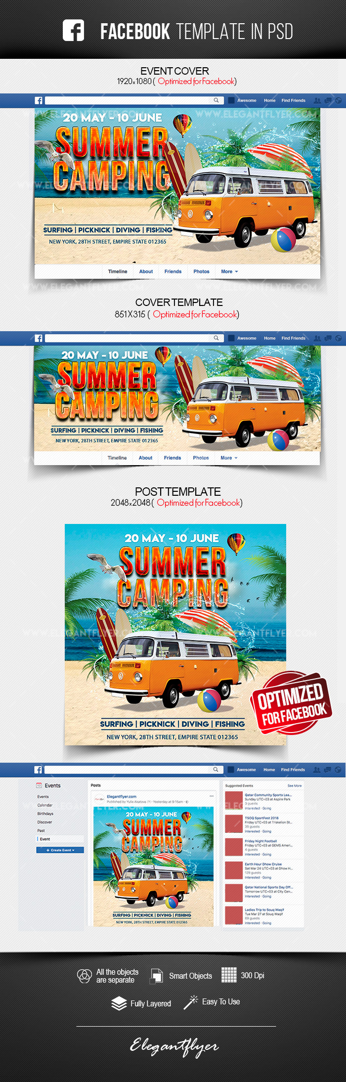 Summer Camping – Free Facebook Cover Template in PSD + Post + Event cover