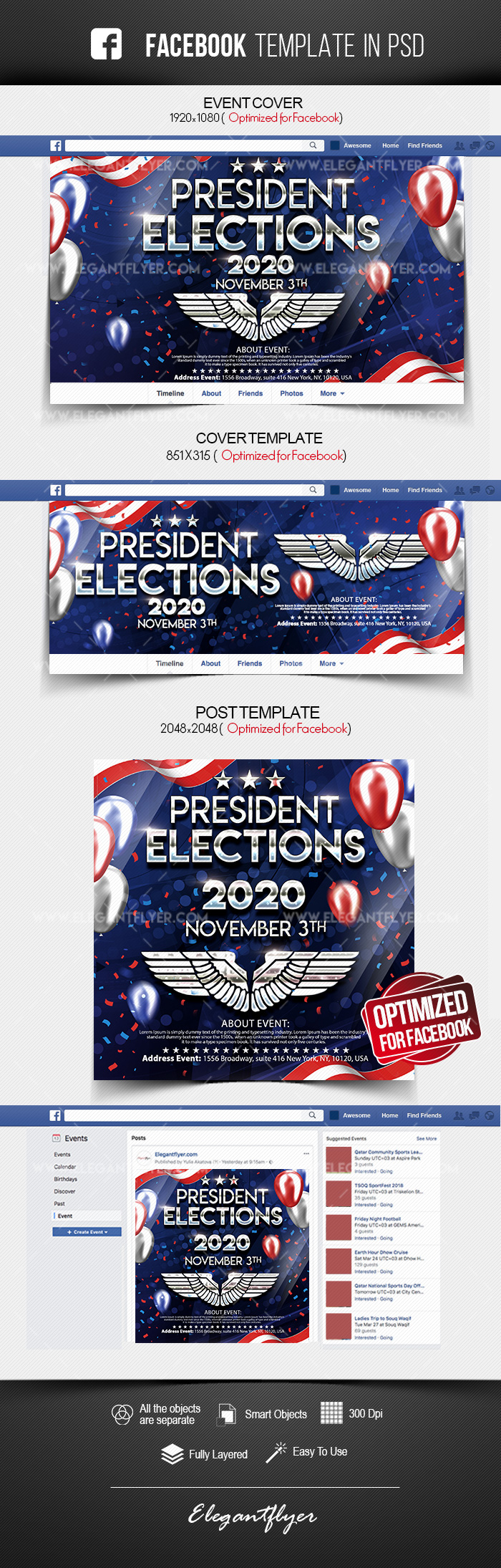 President Elections – Facebook Cover Template in PSD + Post + Event cover