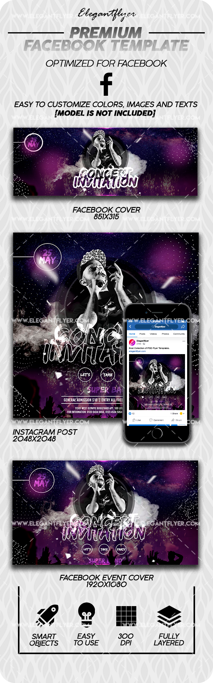 Concert Invitation – Facebook Cover Template in PSD + Post + Event cover