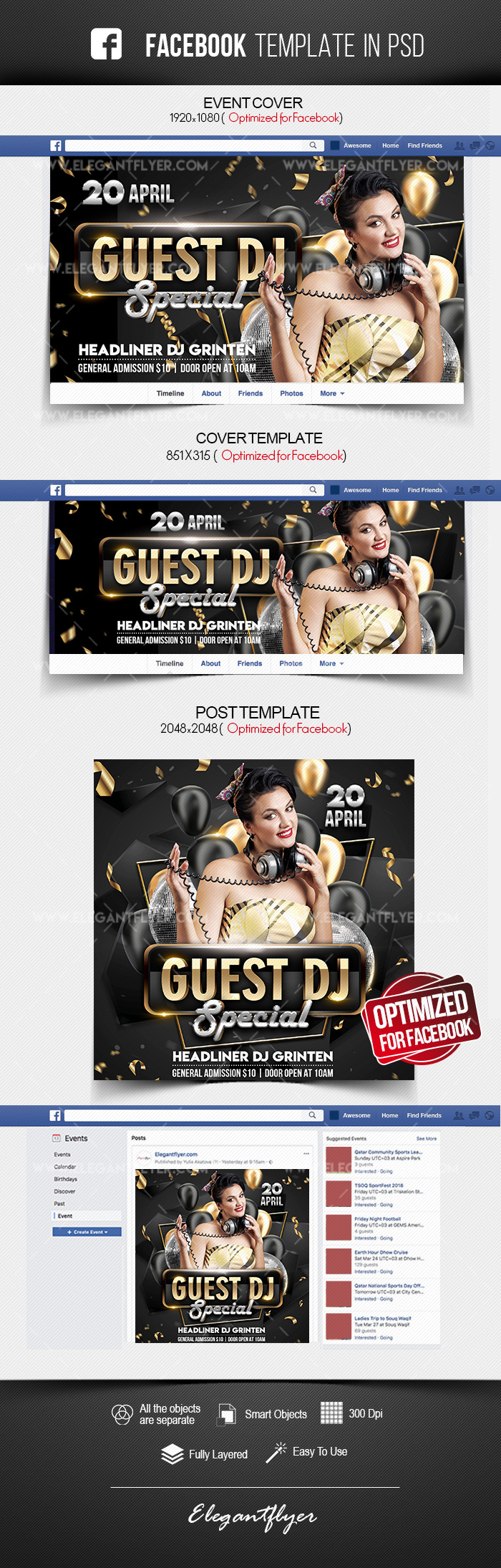 Special Guest DJ – Free Facebook Cover Template in PSD + Post + Event cover