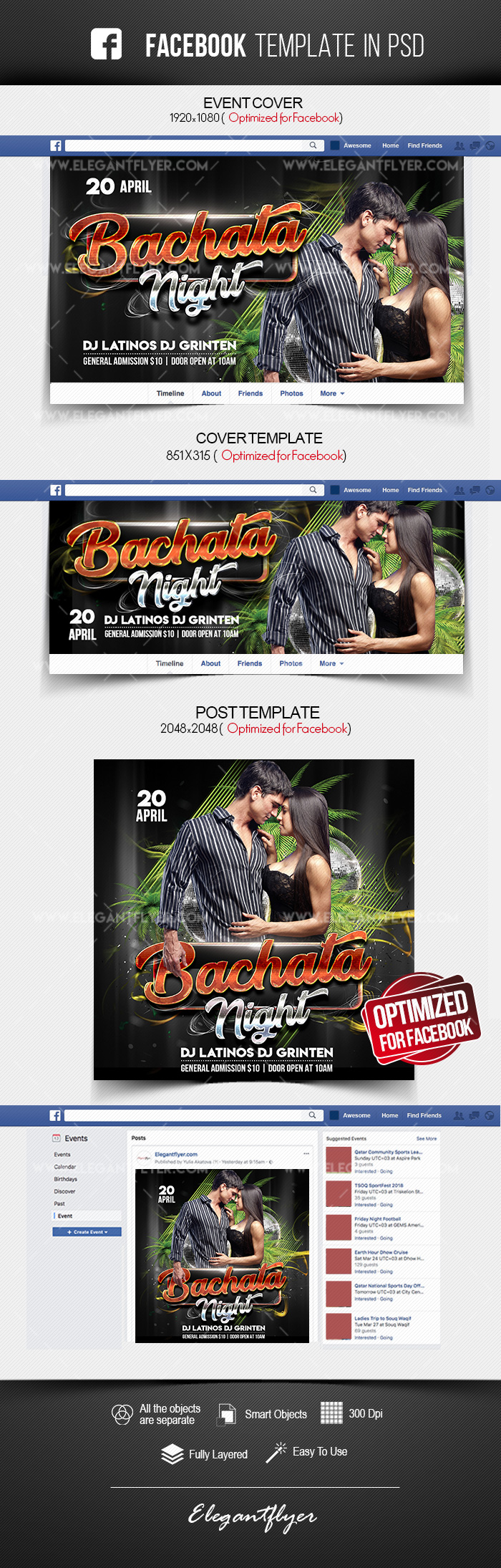 Bachata Night – Facebook Cover Template in PSD + Post + Event cover