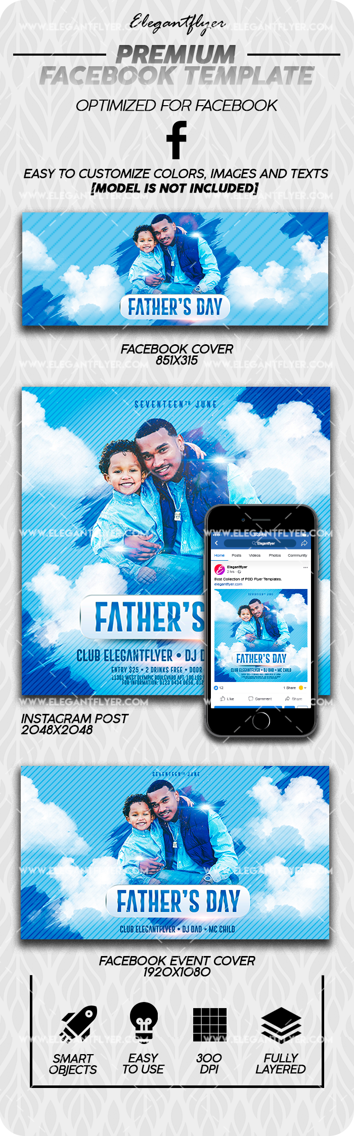 Father's Day – Facebook Cover Template in PSD + Post + Event cover
