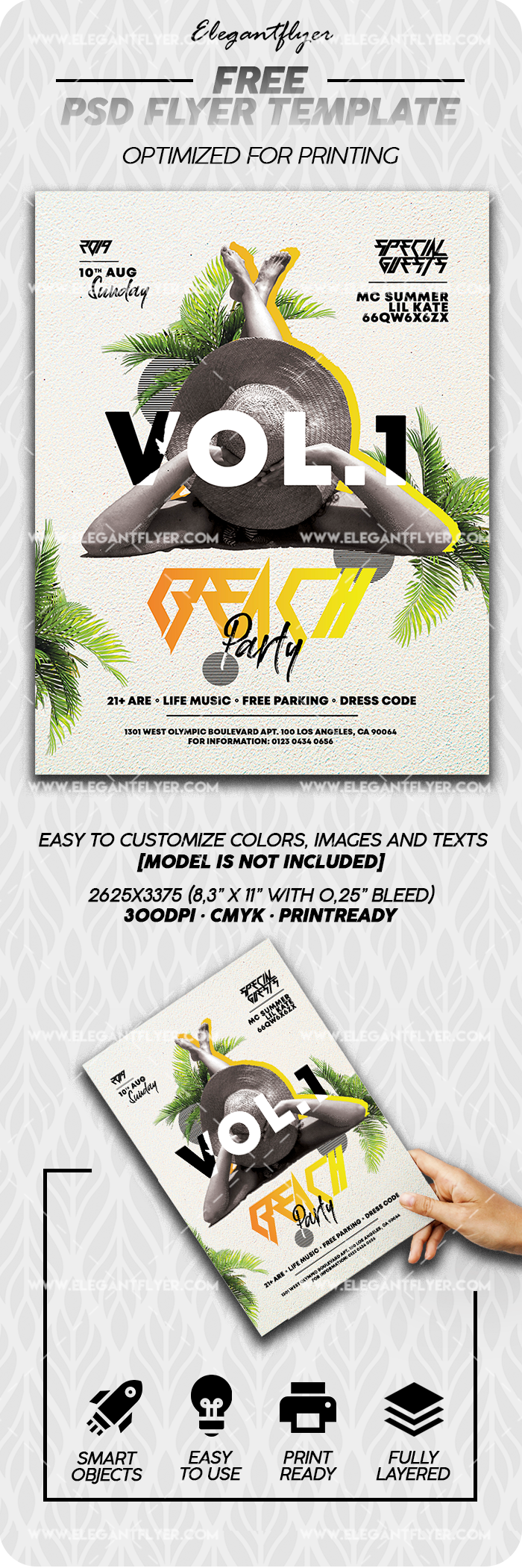Beach Party – Free Flyer Template in PSD