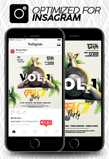 Beach Party – Free Instagram Stories Template in PSD + Post Templates