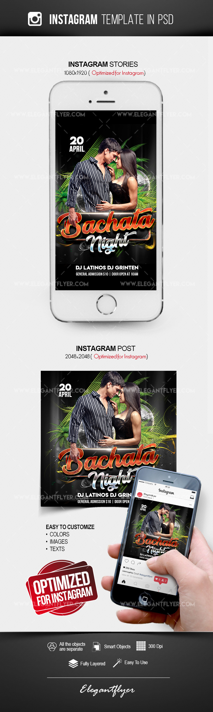 Bachata Night – Instagram Stories Template in PSD + Post Templates