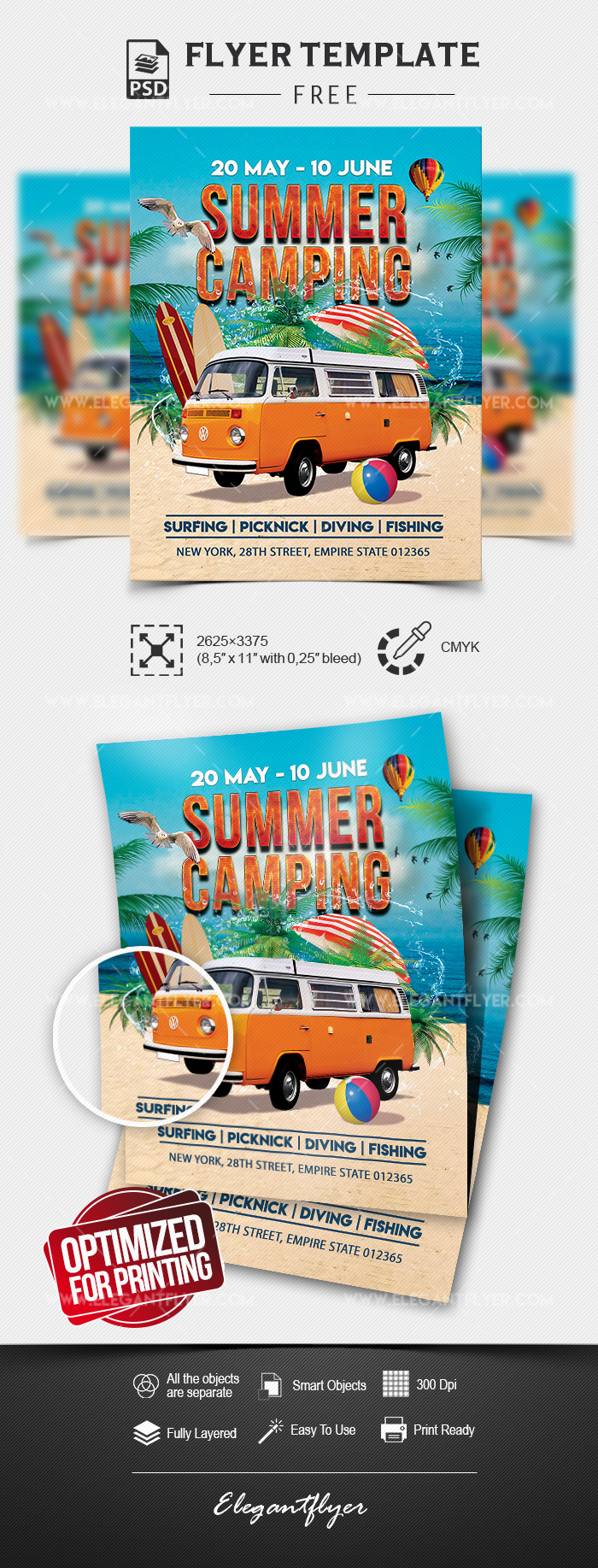 Summer Camping – Free Flyer Template in PSD