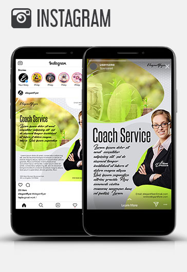 Coach Service – Instagram Stories Template in PSD + Post Templates