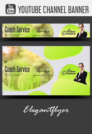 Coach Service – Youtube Channel banner PSD Template