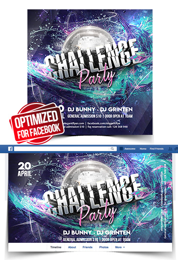 Challenge Party – Facebook Cover Template in PSD + Post + Event cover
