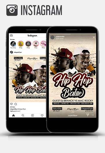 Hip Hop Battle – Instagram Stories Template in PSD + Post Templates
