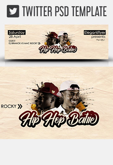 Hip Hop Battle – Twitter Header PSD Template