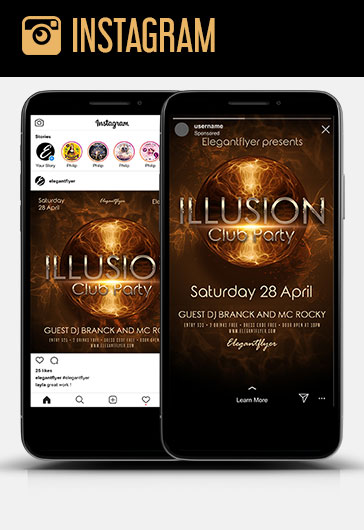 Illusion Club Party – Instagram Stories Template in PSD + Post Templates