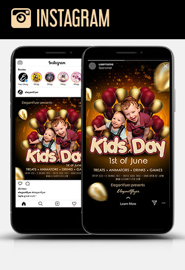 Kids Day – 1st of June – Instagram Stories Template in PSD + Post Templates