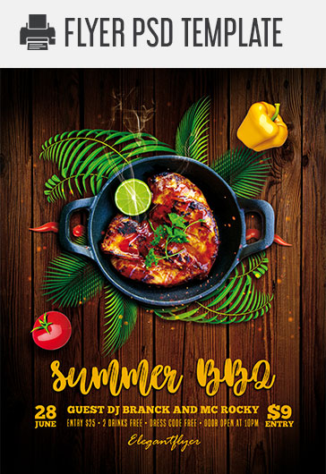 summer bbq  u2013 free psd flyer template  u2013 by elegantflyer