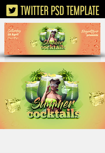 Summer Cocktails – Twitter Header PSD Template