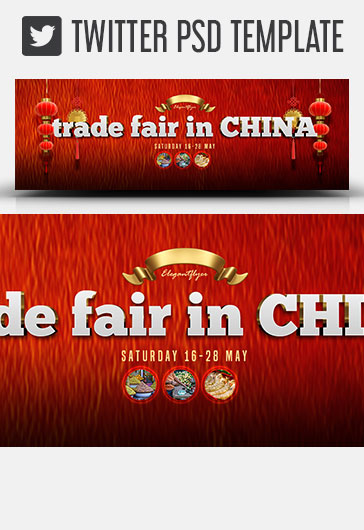 Trade Fair in China – Twitter Header PSD Template