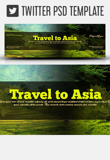 Travel to Asia – Twitter Header PSD Template
