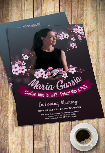 Cherry Flowers Funeral Program PSD Template