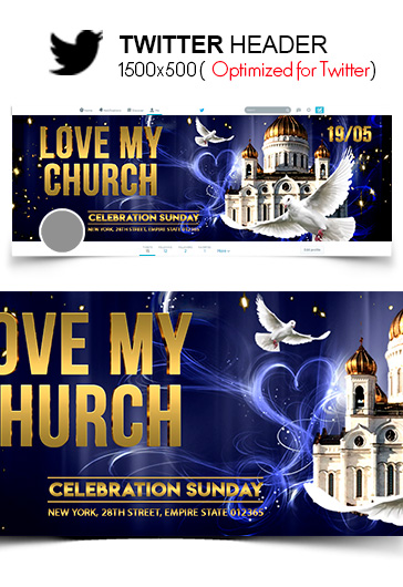 Love my Church – Twitter Header PSD Template