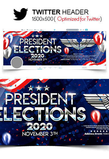 President Elections – Twitter Header PSD Template