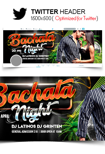 Bachata Night – Twitter Header PSD Template
