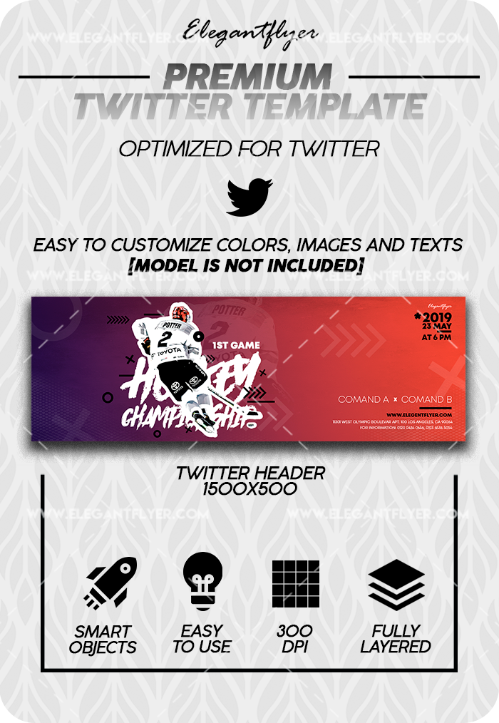 Ice Hockey World Championships – Twitter Channel banner PSD Template