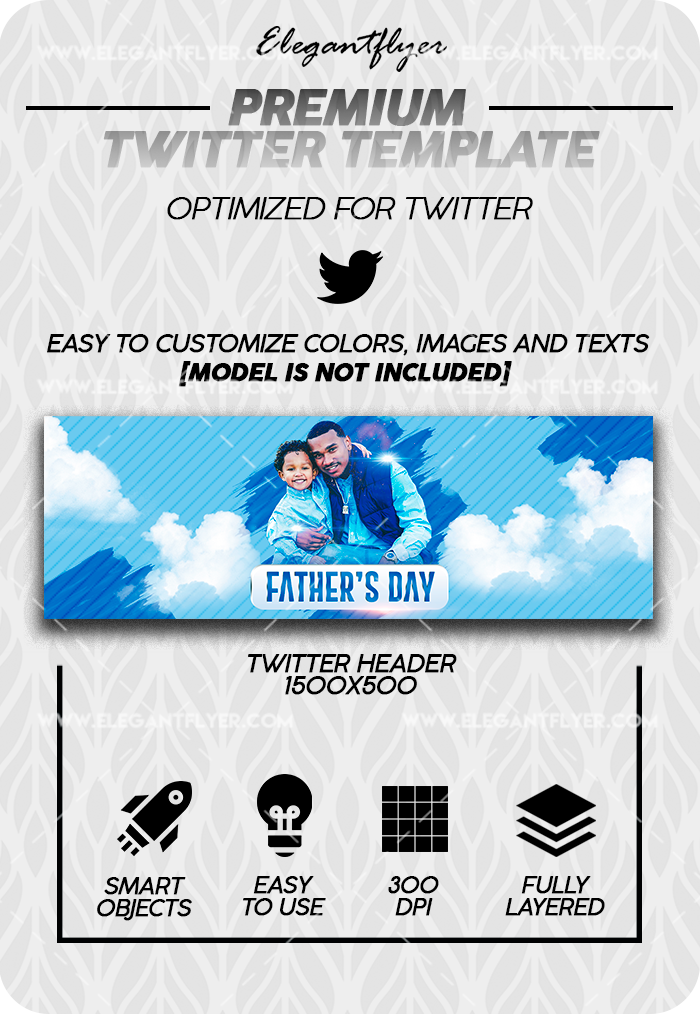 Father's Day – Twitter Channel banner PSD Template