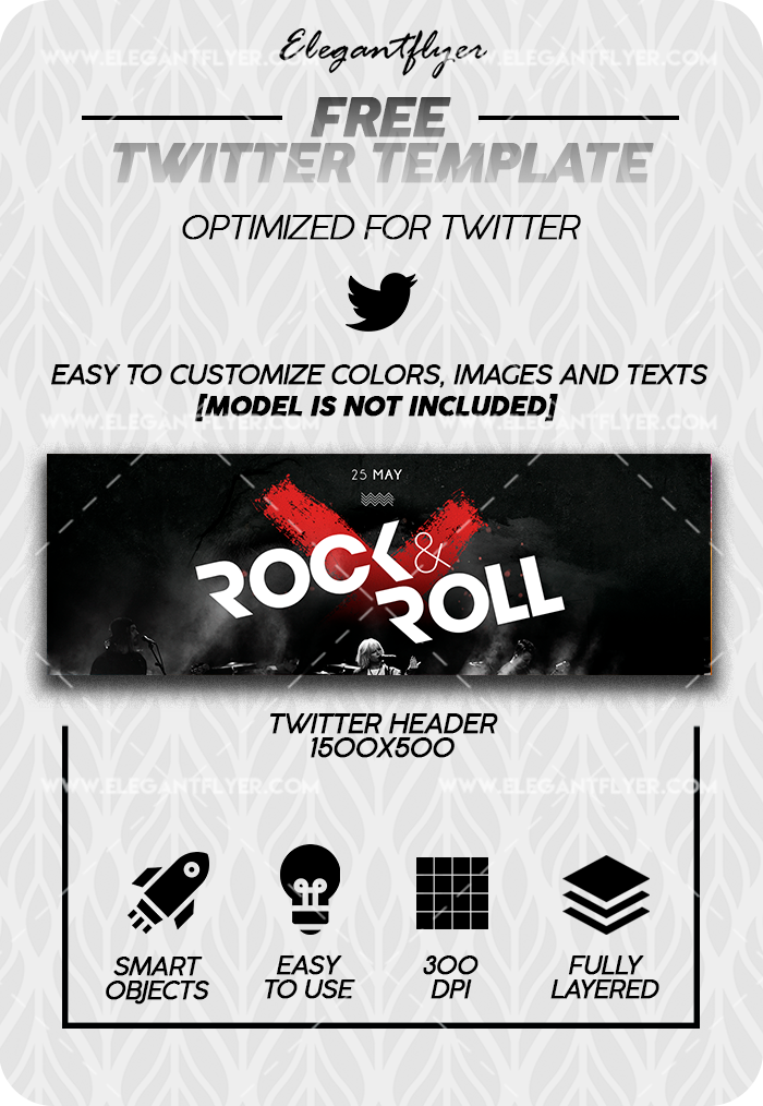 Rock'n'Roll Night – Free Twitter Channel banner PSD Template