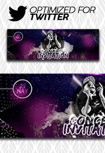 Concert Invitation – Twitter Channel banner PSD Template