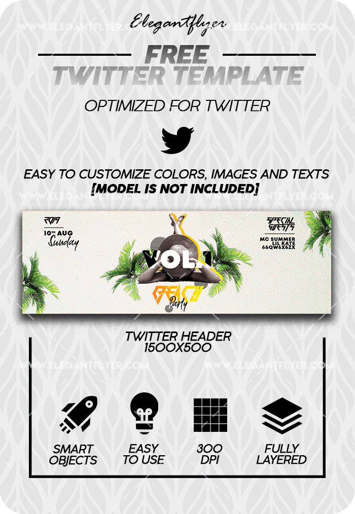 Beach Party – Free Twitter Channel banner PSD Template