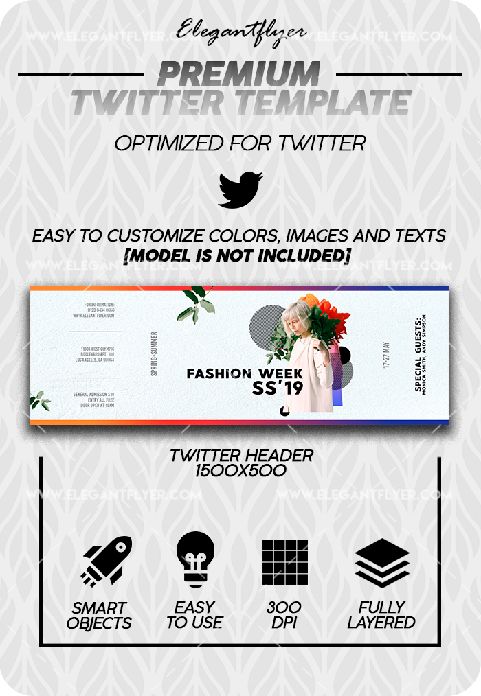 Fashion Week – Twitter Channel banner PSD Template