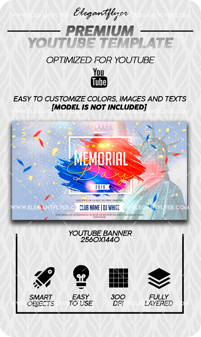 Memorial Day – Youtube Channel banner PSD Template