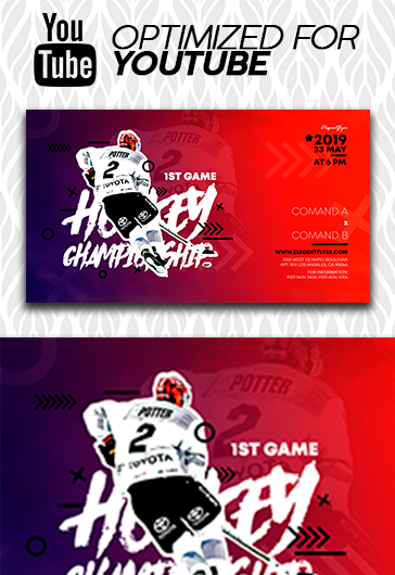 Ice Hockey World Championships – Youtube Channel banner PSD Template
