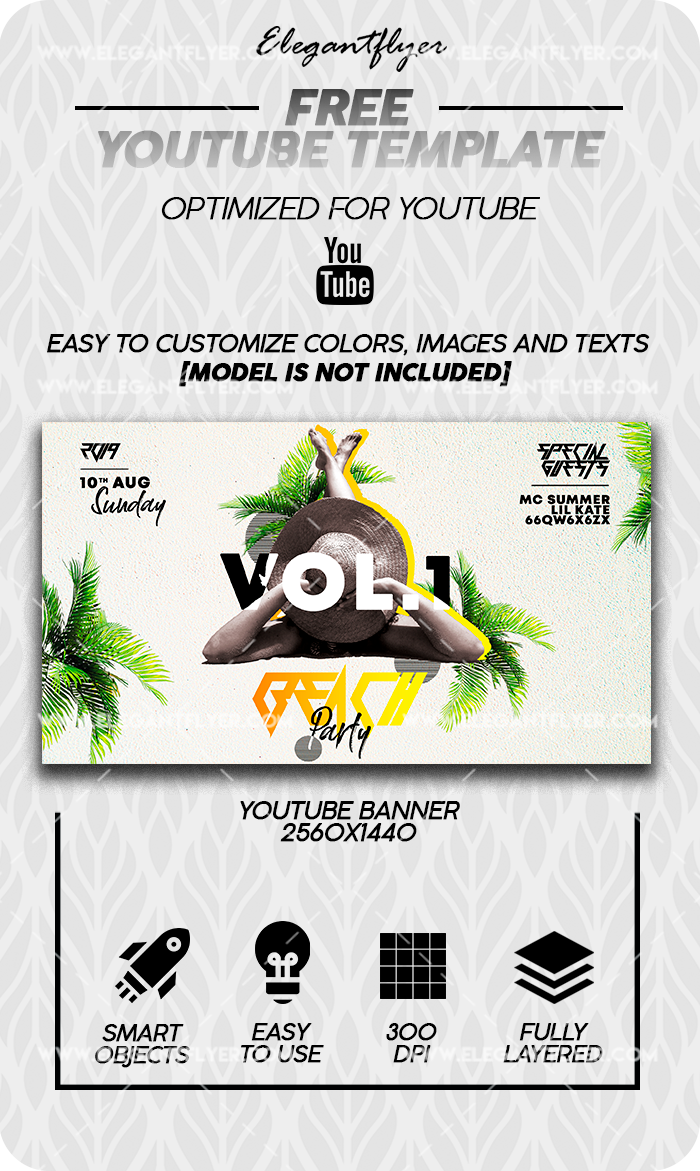 Beach Party – Free Youtube Channel banner PSD Template