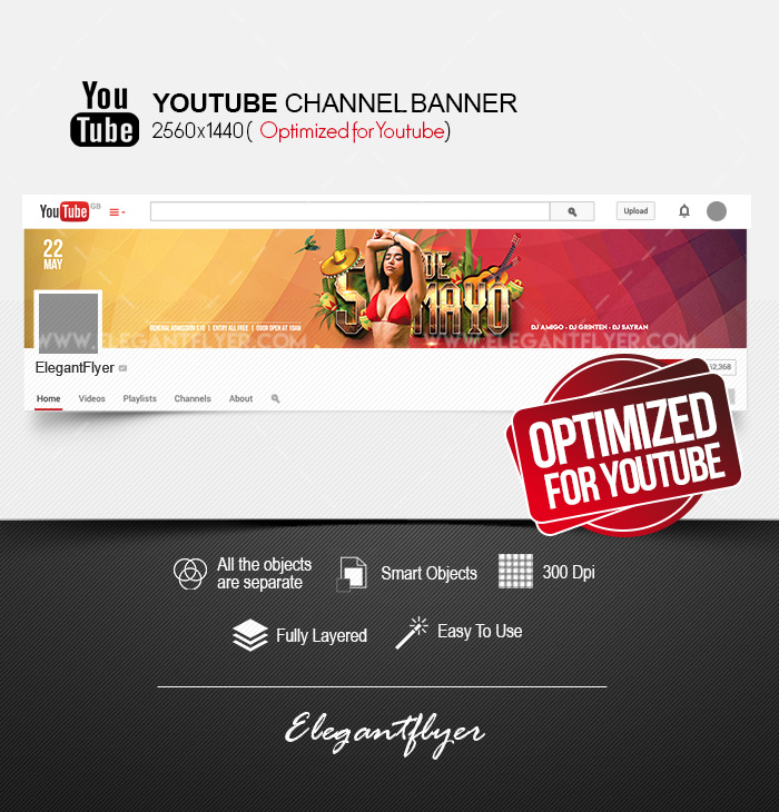 Cinco de Mayo Party – Youtube Channel banner PSD Template