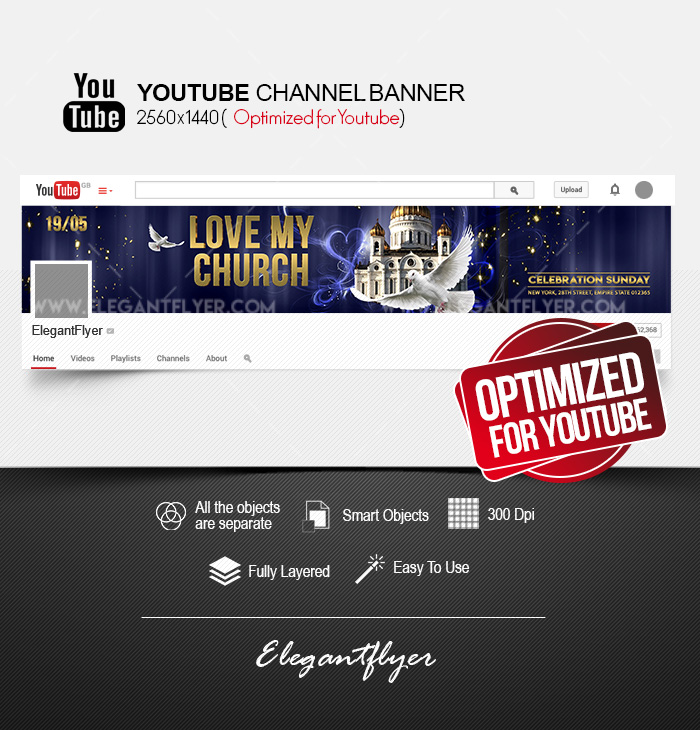 Love My Church Youtube Channel Banner Psd Template