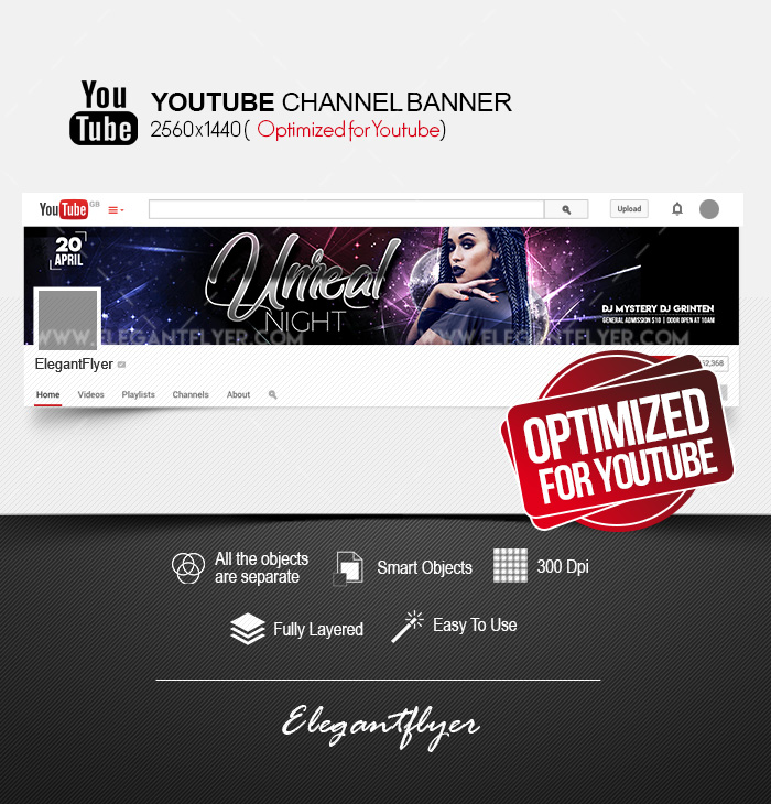 Unreal Night – Youtube Channel banner PSD Template