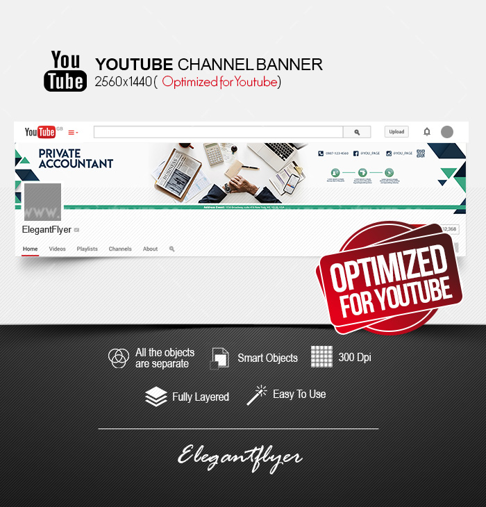 Private Accountant – Free Youtube Channel banner PSD Template