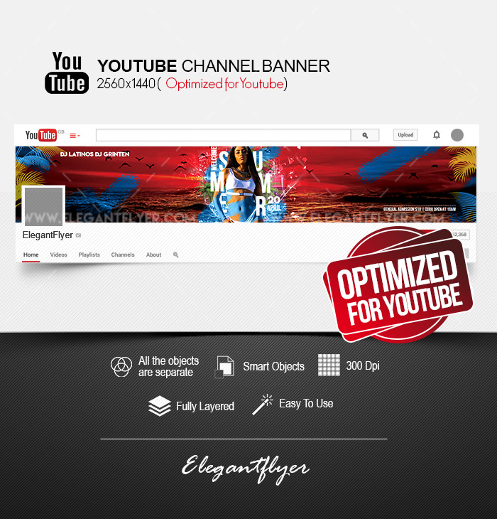 Welcome Summer – Youtube Channel banner PSD Template