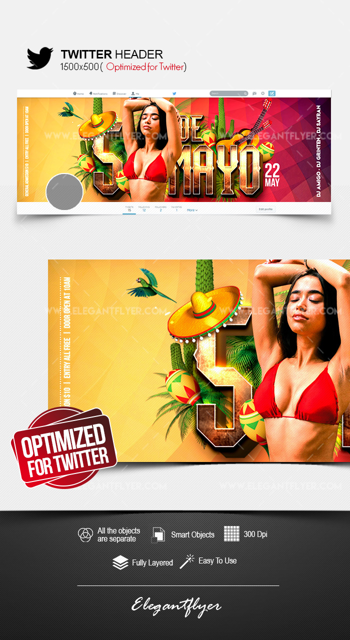 Cinco de Mayo Party – Twitter Header PSD Template