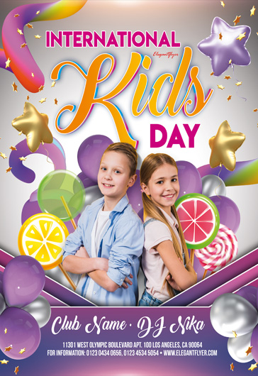 International Kids Day Invitation – Premium Flyer Template in PSD