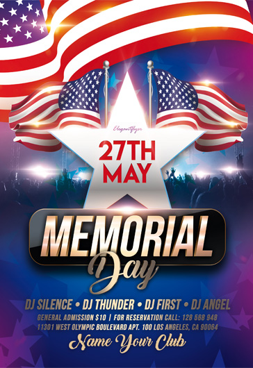 Memorial Day Events – Premium Flyer Template in PSD